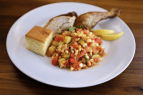 Trip Nosh, Spatchcock Chicken & Succotash for Two