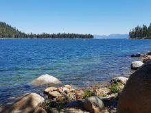 Lake Tahoe seen from rocky shore