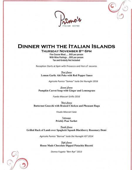 Primo's Italian Bistro, Dinner with the Italians