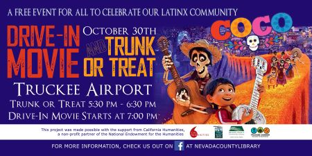 """Truckee Library, FREE Drive-In Movie Disney's """"Coco"""" and Trunk or Treat Friday"""