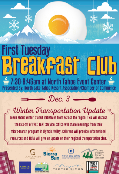 North Lake Tahoe Chamber, CVB, Resort Association (NLTRA), First Tuesday Breakfast Club