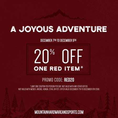 Mountain Hardware & Sports, 20% Off Any Red Item at Mountain Hardware and Sports
