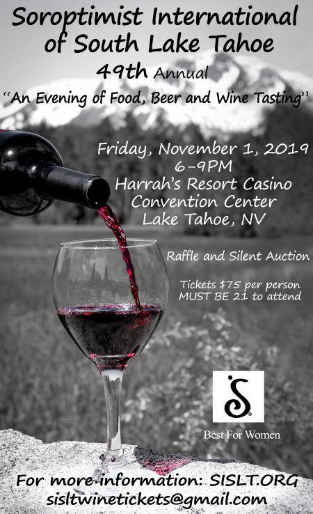 Soroptimist International of South Lake Tahoe, 49th Annual | An Evening of Food, Beer and Wine Tasting