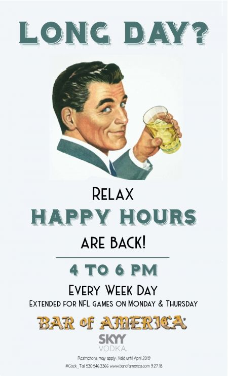 Bar of America, Happy Hours at Bar of America!