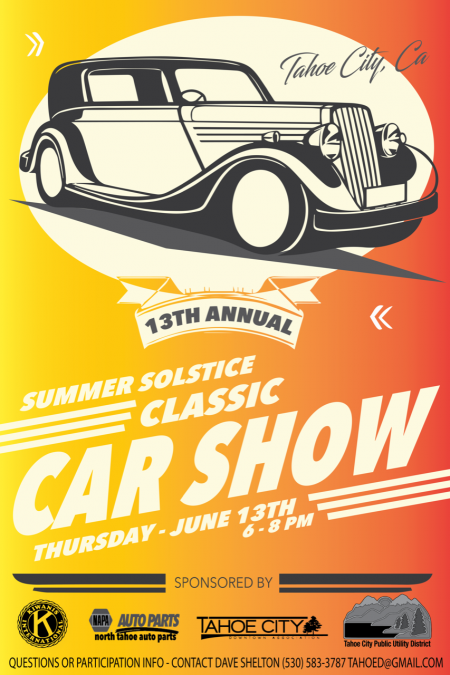 Tahoe City Downtown Association, 13th Annual Summer Solstice Classic Car Show