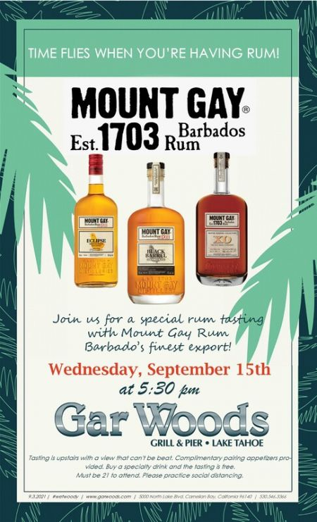 Gar Woods Grill & Pier, Mount Gay Spirit Tasting