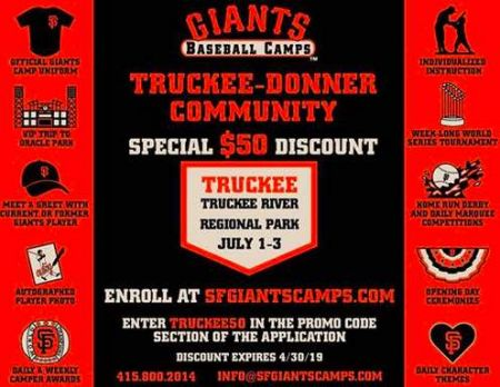 Truckee Donner Recreation & Park District, Giants Baseball Camp at Truckee Regional Park