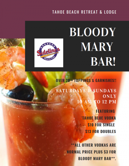 Sidelines Sports Pub, Build Your Own Bloody Mary!