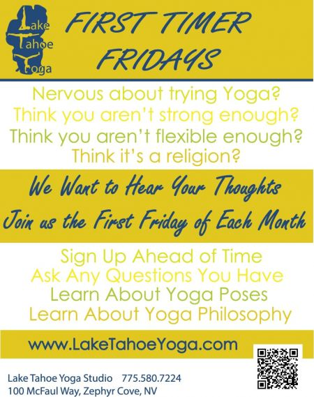 Lake Tahoe Yoga, First Timer Fridays | First Friday of Each Month