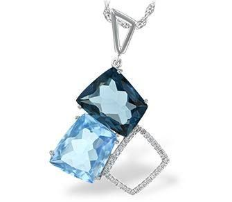 Bluestone Jewelry, Diamond and Semi Precious Pendant