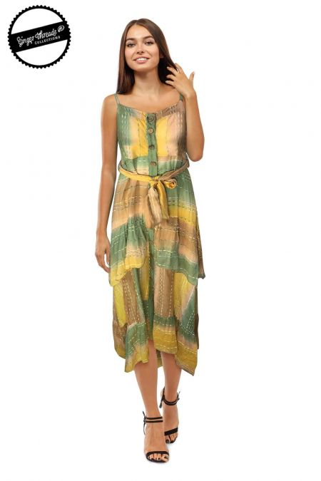 Ginger Threads Collections, Square Neck Patchwork Maxi Dress