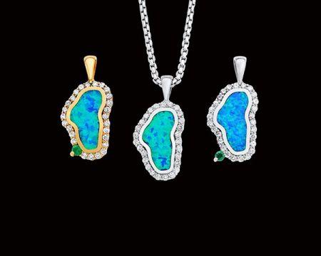 Steve Schmier's Jewelry, Fancy Diamond Opal Lake Tahoe Necklace