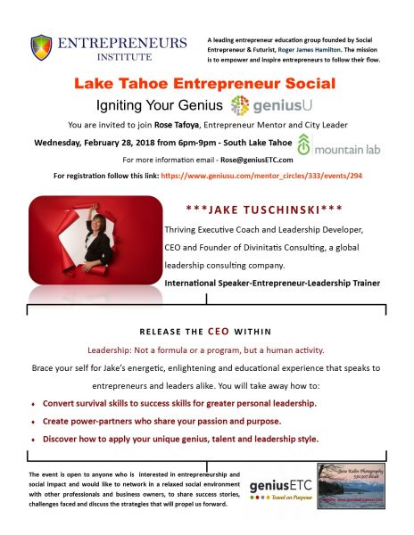 Lake Tahoe geniusU Entrepreneur Social | GeniusU | Lake Tahoe Events