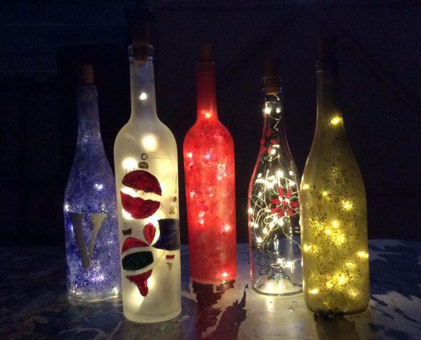 Easel wine bottle painting glasses wine bar lake for Wine bottle glass